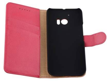 Premium Leather Wallet Case for HTC 10 - Pink