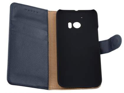 Premium Leather Wallet Case for HTC 10 - Classic Black