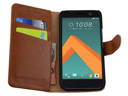 Premium Leather Wallet Case for HTC 10 - Brown
