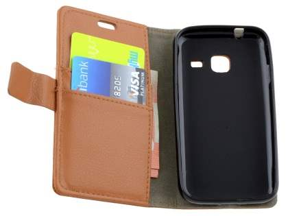 Slim Synthetic Leather Wallet Case with Stand for Samsung Galaxy J1 mini - Brown