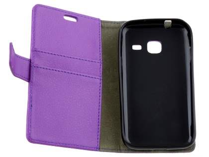 Slim Synthetic Leather Wallet Case with Stand for Samsung Galaxy J1 mini - Purple