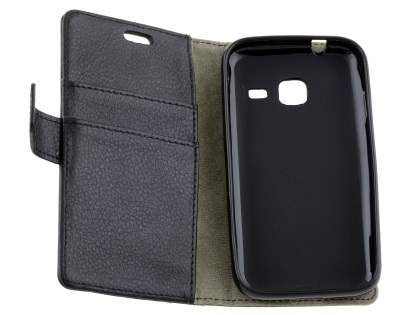 Slim Synthetic Leather Wallet Case with Stand for Samsung Galaxy J1 mini - Classic Black
