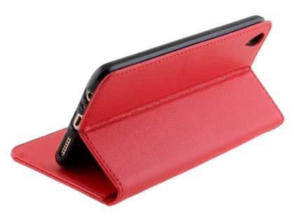 Slim Synthetic Leather Wallet Case with Stand for Oppo R9 4G - Red