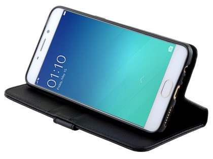 Slim Synthetic Leather Wallet Case with Stand for Oppo R9 4G - Black