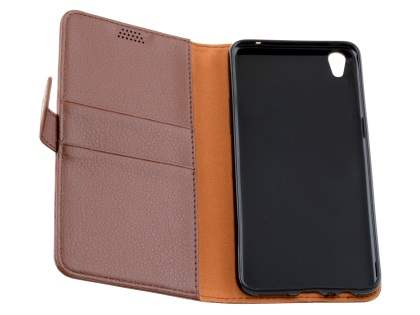Slim Synthetic Leather Wallet Case with Stand for Oppo R9 4G - Brown