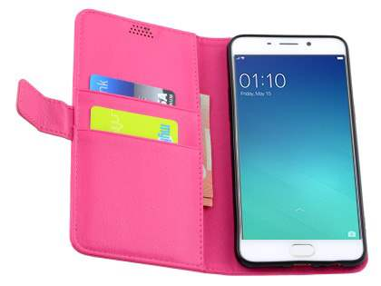 Slim Synthetic Leather Wallet Case with Stand for Oppo R9 4G - Pink