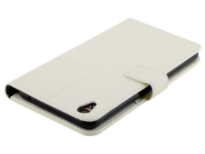 Slim Synthetic Leather Wallet Case with Stand for Oppo R9 4G - Pearl White