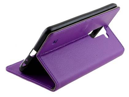 LG Stylus DAB+ Slim Synthetic Leather Wallet Case with Stand - Purple