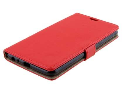 Slim Synthetic Leather Wallet Case with Stand for LG Stylus DAB+ - Red