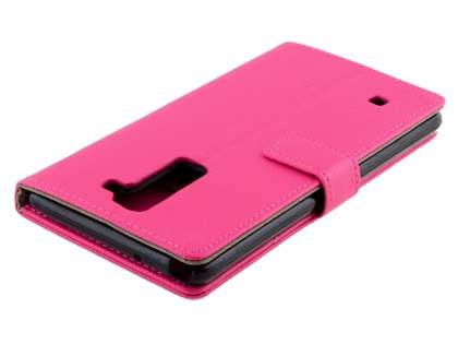 LG Stylus DAB+ Slim Synthetic Leather Wallet Case with Stand - Pink