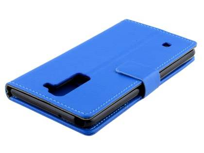 Slim Synthetic Leather Wallet Case with Stand for LG Stylus DAB+ - Blue