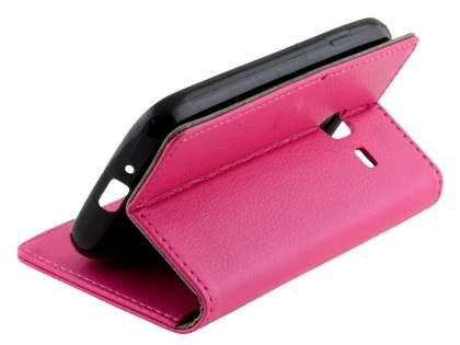 Slim Synthetic Leather Wallet Case with Stand for Samsung Galaxy J1 mini - Pink
