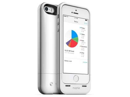 mophie space pack Battery Case with 32GB Storage for iPhone SE/5s/5 - White/Silver Case Battery