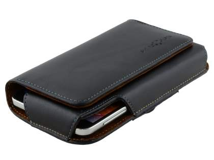 Extra-tough Genuine Leather ShineColours belt pouch for HTC 10 - Classic Black