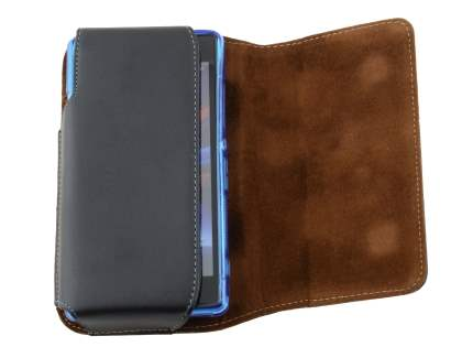 Extra-tough Genuine Leather ShineColours belt pouch (Bumper Case Compatible) for HTC 10