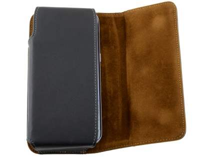 Extra-tough Genuine Leather ShineColours belt pouch for HTC Telstra Signature Premium - Classic Black
