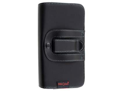 Extra-tough Genuine Leather ShineColours belt pouch for HTC Desire 530 - Classic Black
