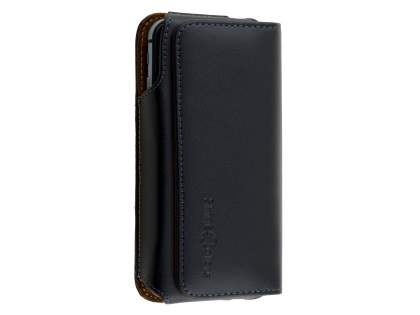 Extra-tough Genuine Leather ShineColours belt pouch for HTC One X9 - Classic Black Belt Pouch
