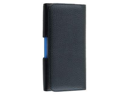 Textured Synthetic Leather Belt Pouch (Bumper Case Compatible) for HTC One X9 - Classic Black Belt Pouch