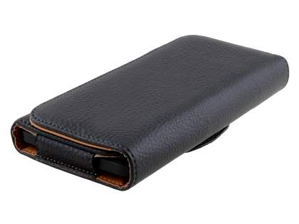 Textured Synthetic Leather Belt Pouch (Bumper Case Compatible) for HTC One X9 - Classic Black