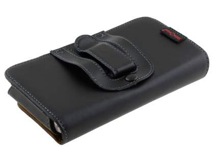 Extra-tough Genuine Leather ShineColours belt pouch (Bumper Case Compatible) - Classic Black