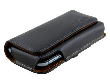 Extra-tough Genuine Leather ShineColours belt pouch (Bumper Case Compatible) for Telstra Signature Enhanced - Classic Black