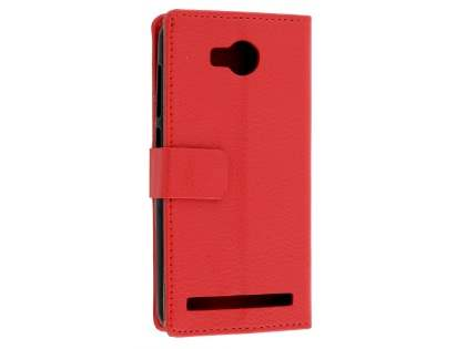 Huawei Y3II Slim Synthetic Leather Wallet Case with Stand - Red Leather Wallet Case