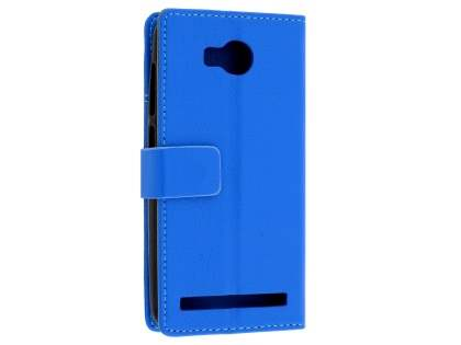 Huawei Y3II Slim Synthetic Leather Wallet Case with Stand - Blue Leather Wallet Case