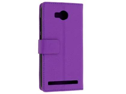 Huawei Y3II Slim Synthetic Leather Wallet Case with Stand - Purple Leather Wallet Case