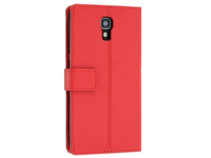Slim Synthetic Leather Wallet Case with Stand for Telstra Signature Enhanced - Red Leather Wallet Case