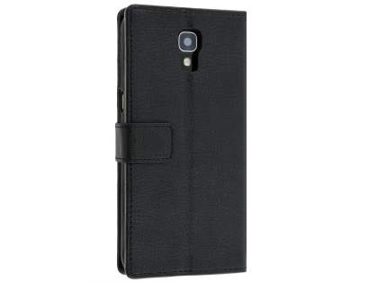 Slim Synthetic Leather Wallet Case with Stand for Telstra Signature Enhanced - Classic Black Leather Wallet Case
