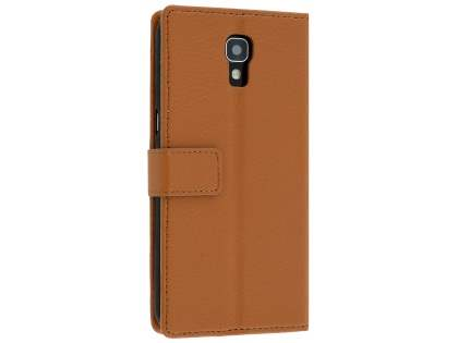 Telstra Signature Enhanced Slim Synthetic Leather Wallet Case with Stand - Brown Leather Wallet Case