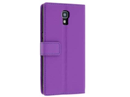 Slim Synthetic Leather Wallet Case with Stand for Telstra Signature Enhanced - Purple Leather Wallet Case