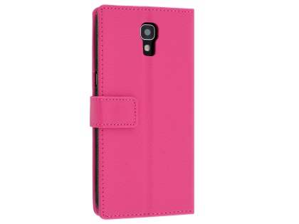 Telstra Signature Enhanced Slim Synthetic Leather Wallet Case with Stand - Pink Leather Wallet Case