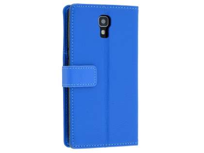 Slim Synthetic Leather Wallet Case with Stand for Telstra Signature Enhanced - Blue Leather Wallet Case