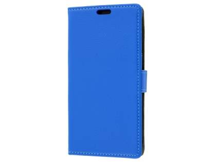 Slim Synthetic Leather Wallet Case with Stand for Telstra Signature Enhanced - Blue