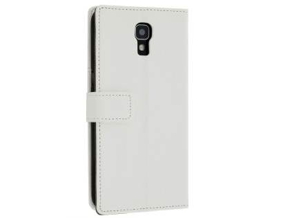 Slim Synthetic Leather Wallet Case with Stand for Telstra Signature Enhanced - Pearl White Leather Wallet Case