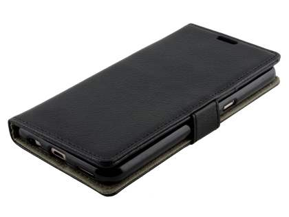 Slim Synthetic Leather Wallet Case with Stand for Telstra Signature Enhanced - Classic Black