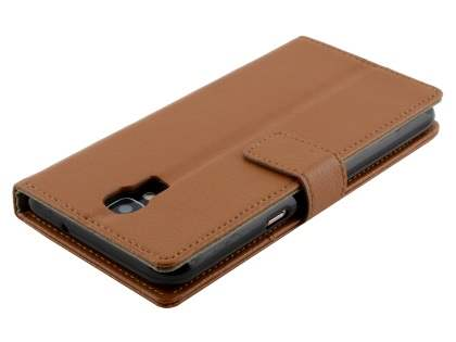 Telstra Signature Enhanced Slim Synthetic Leather Wallet Case with Stand - Brown