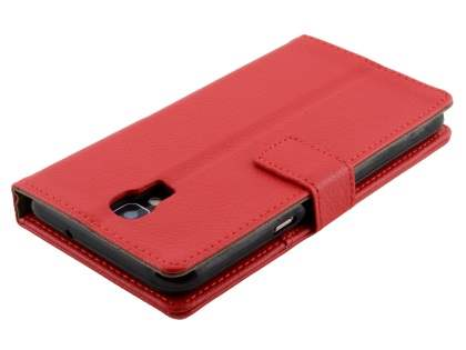 Slim Synthetic Leather Wallet Case with Stand for Telstra Signature Enhanced - Red