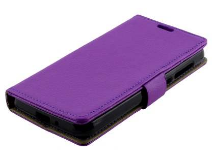 Huawei Y3II Slim Synthetic Leather Wallet Case with Stand - Purple