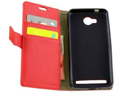 Huawei Y3II Slim Synthetic Leather Wallet Case with Stand - Red