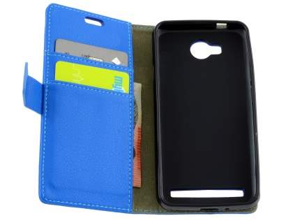 Huawei Y3II Slim Synthetic Leather Wallet Case with Stand - Blue