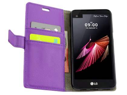Slim Synthetic Leather Wallet Case with Stand for Telstra Signature Enhanced - Purple