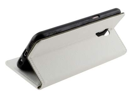 Slim Synthetic Leather Wallet Case with Stand for Telstra Signature Enhanced - Pearl White