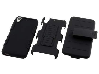 Rugged Case with Holster Belt Clip for HTC Desire 626/628 - Classic Black