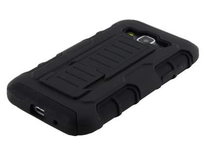Rugged Case with Holster Belt Clip for Samsung Galaxy Core Prime - Classic Black