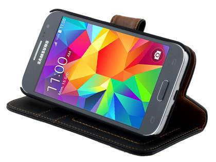 Samsung Galaxy Core Prime Slim Synthetic Leather Wallet Case with Stand - Classic Black