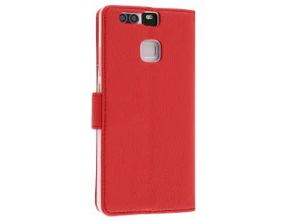 Synthetic Leather Wallet Case with Stand for Huawei P9 - Red