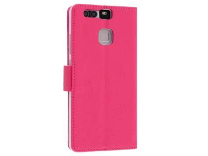 Synthetic Leather Wallet Case with Stand for Huawei P9 - Pink
